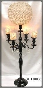 Black Candelabra  47 inch tall with 12 inch crsytal ball 4 crystal votives  110035