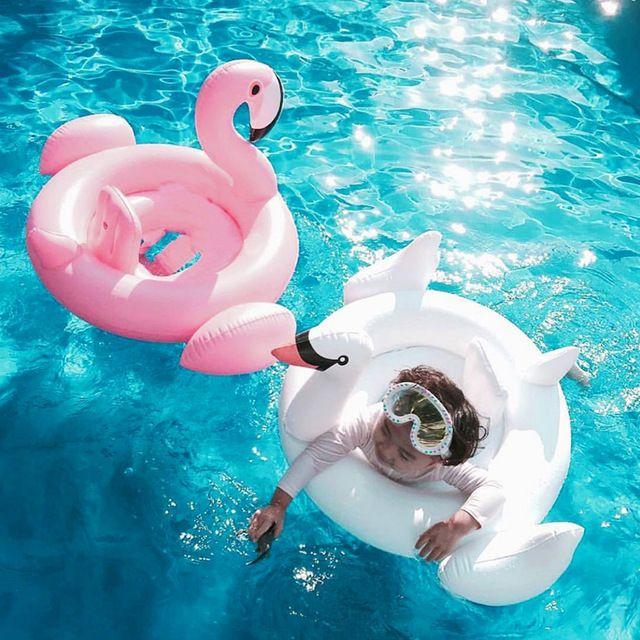 White swan aufblasbare kinder schwimmen rennen lebewesen schwimmring baby schwimmen runden rosa aufblasbare Flamingo Float in den pool