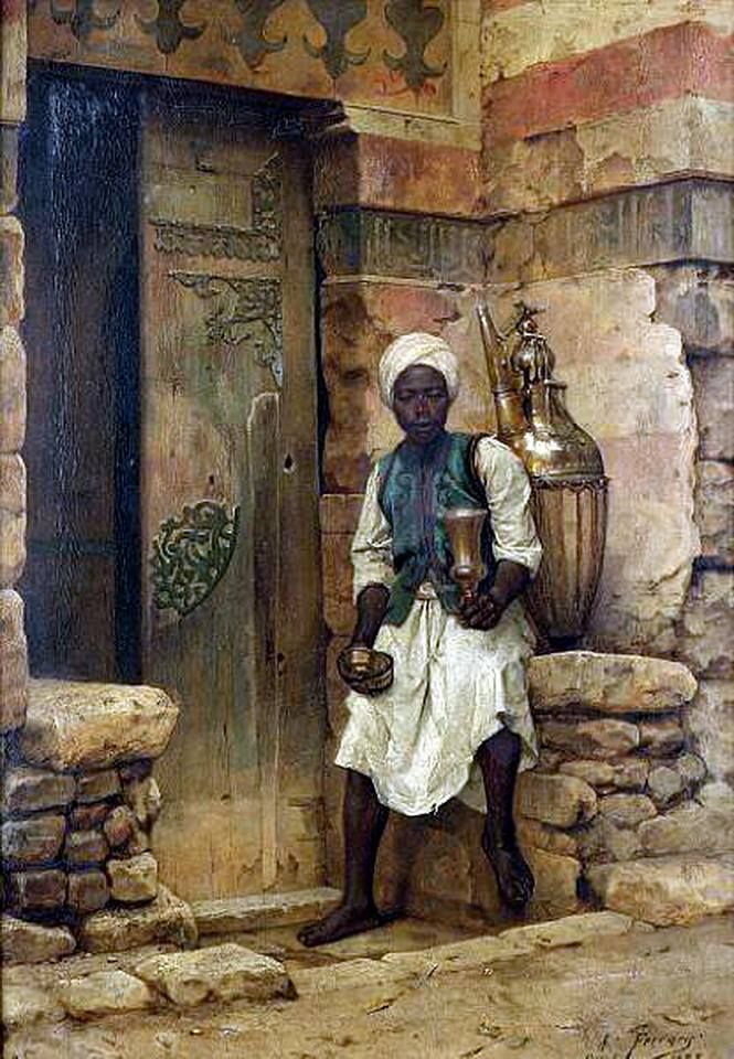 A Nubian boy , 1888 By Arthur von Ferraris (Hungarian, 1856 -1936) Oil on panel , 46 x 32.5 cm