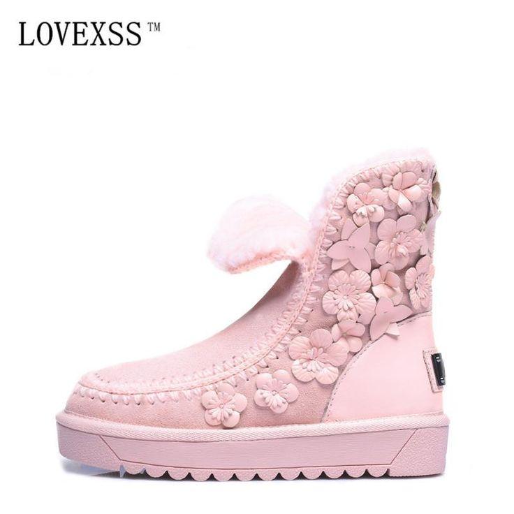 Australia Winter Boots | Genuine Leather | Wool | Snow Boots Black & Pink Flower Sz 5-8