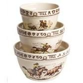 Rodeo Western Cowboy 3 pc Mixing Bowl Set by True West - Kitchen Decor Kitchenware Items - WEST BY SOUTHWEST DECOR