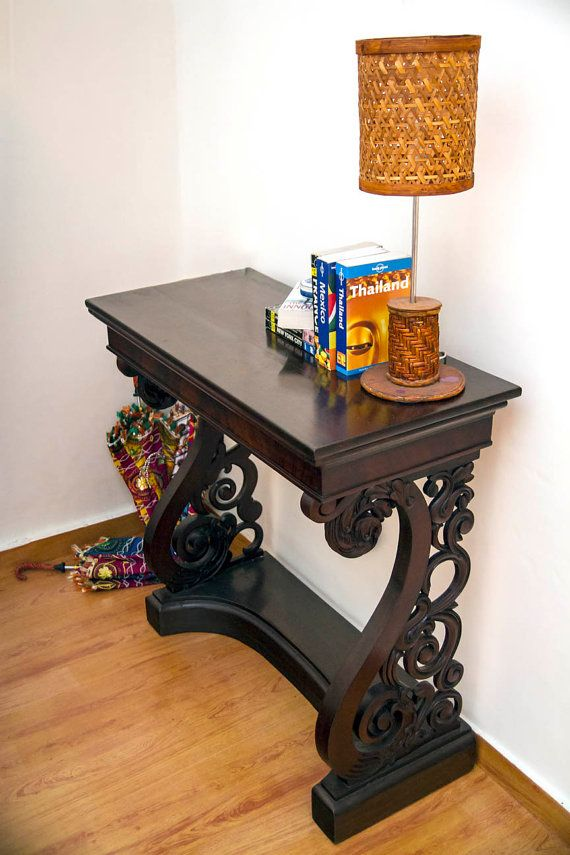 This dark wood, Mahogany console table was built in the 1900's. Found in  Pondicherry. Antique Console TableConsole TablesAntique FurnitureHallway ... - 10 Best January 2016 Flash Sale Images On Pinterest Antique