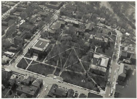 Ohio University College Green aerial view, 1964 :: Ohio University Archives