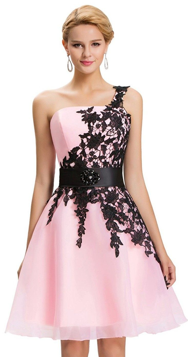 GRACE KARIN Bridesmaid Wedding Dresses for Women One Shoulder Lace Floral Formal
