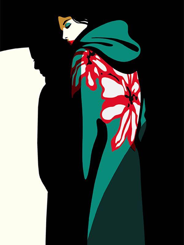 Illustration by #Mathilde © 2017  www.traffic-nyc.com  #flower #floral #greencoat #redlipstick #japanese #shadow #fashion #fashionillustration #silhouette #silhouetteillustration