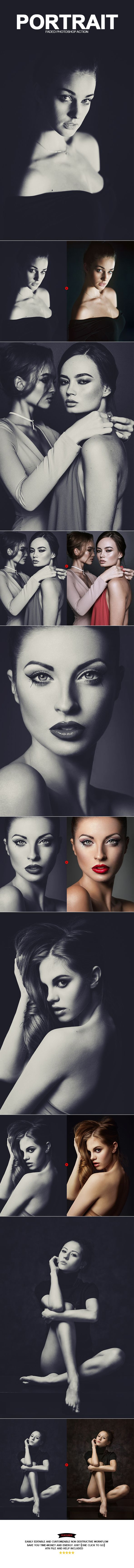 Portrait Faded Photoshop Action  — Photoshop Action #b&w #Portrait Fashion • Download ➝ https://graphicriver.net/item/portrait-faded-photoshop-action/18214414?ref=pxcr