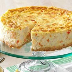 Creole Shrimp & Crab Cheesecake Recipe- Recipes We live on the beach and love to eat seafood. A stay-at-home mom, I also love to experiment in the kitchen. I came up with this savory spread as a special appetizer.—Christy Hughes, Sunset Beach, North Carolina