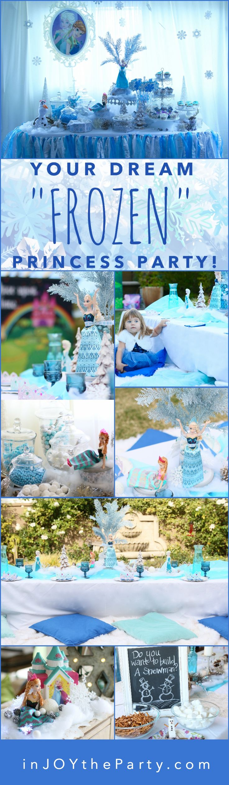 """This entire """"FROZEN"""" Princess birthday party collection is available for you to rent and recreate your own way! Check out inJOYtheParty.com - even if it's just to get inSPIRED for your upcoming parties!"""