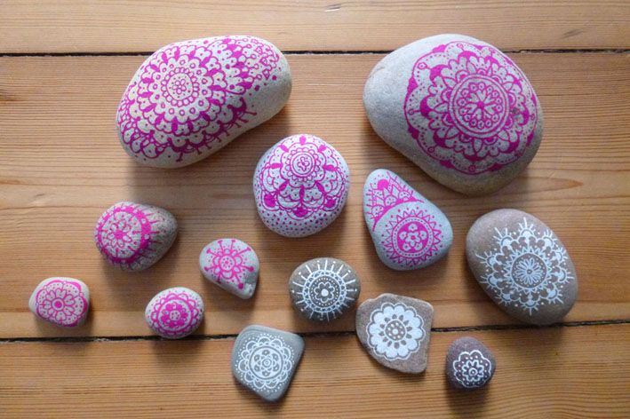 painting pebbles pattern idea for painting on stones and. Black Bedroom Furniture Sets. Home Design Ideas