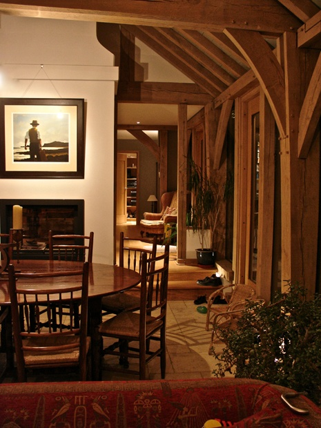 Accent lighting highlights the architectural elements in this oak framed barn. In addition, discrete surface mounted Credo's focus the view onto the artwork, whilst, low level lights lead the eye through the space and increase the sense of depth.