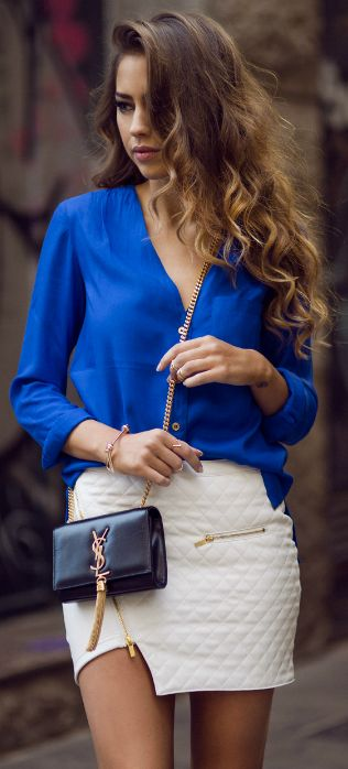 Spring / Summer - Fall / Winter - Party Look -  Electric blue chiffon shirt + white (leather) mini skirt + black sheer tights + black clutch