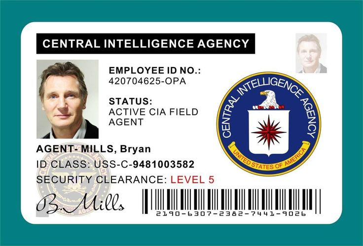 TAKEN (Movie) Bryan Mills CIA ID Card / Badge Prop - Liam Neeson u0026gt;u0026gt;PVC ...