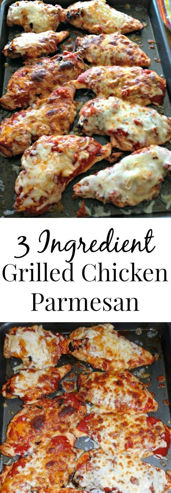 3 Ingredient Grilled Chicken Parmesan- easy and delicious! Much healthier than the breaded and fried version. www.nutritionistr...