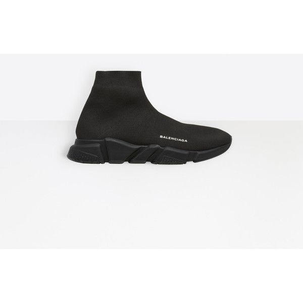 Balenciaga Speed Trainer (£535) ❤ liked on Polyvore featuring men's fashion, men's shoes, men's sneakers, black, man shoes speed shoes, balenciaga mens sneakers, mens black sneakers, balenciaga mens shoes and mens black shoes
