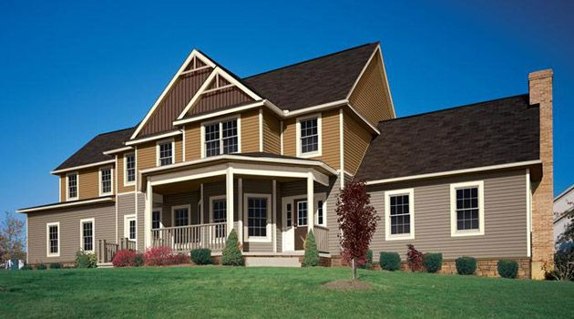 Two tone vinyl siding bad color match dream house for Big and nice houses