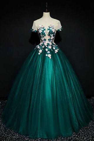 20c18f75db6 Dark green satin short sleeves A-line evening dress with flower appliqués