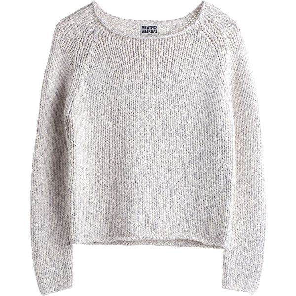 MTWTFSS Weekday Nova Knit Sweater Off White ❤ liked on Polyvore featuring tops, sweaters, shirts, jumpers, knit sweater, off white shirt, off white tops, knit shirt and shirts & tops