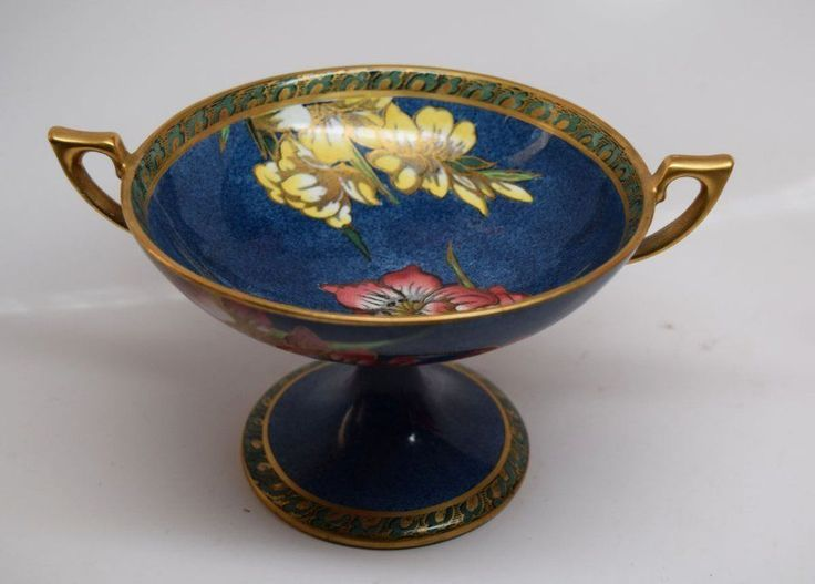 BEAUTIFUL MALING NEW CASTLE IRIS GOLT GILT FOOTED CANDY DISH ART DECO