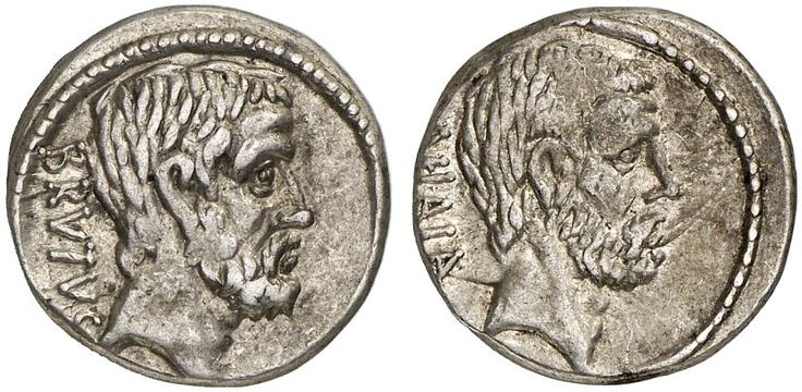 AR Denarius. Roman Coin, Roman Republic, Moneyers, M.Iunius Brutus. 54 BC. 4,08g. Syd. 907. VF. Price realized 2011: 600 USD.