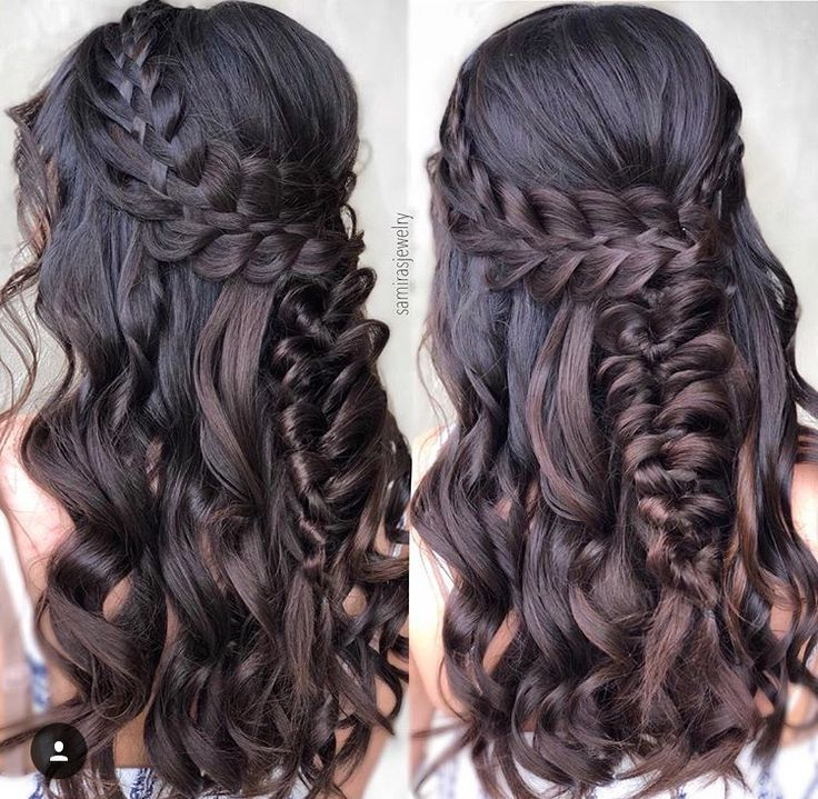 Fancy Hairstyle Curls Brown Hair Braided Back Braided Brown Curls Fancy Hair Hairstyle Hairstyles Wavy Hair With Braid Long Hair Styles Hair Styles