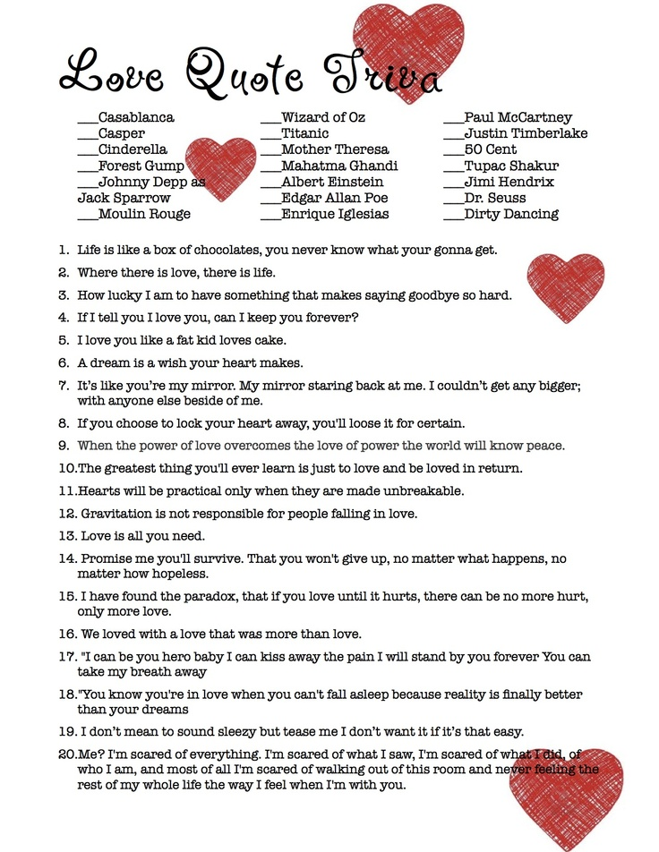 love quote trivia bridal shower game not your typical quotes