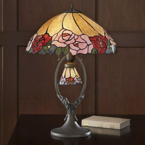 Rose stained glass lamp with night light from seventh avenue