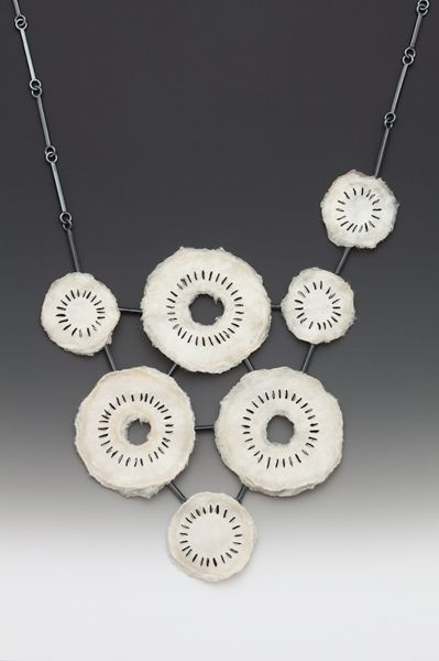 Necklace | Kelly Nedderman. 'Repetition'  Oxidized sterling silver, hand made abaca paper, acrylic, japanese paper thread