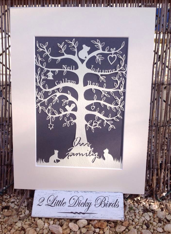Bespoke family tree. Cut from 100gsm hammered paper, various colour options available from www.Facebook.com/2LittleDickyBirds