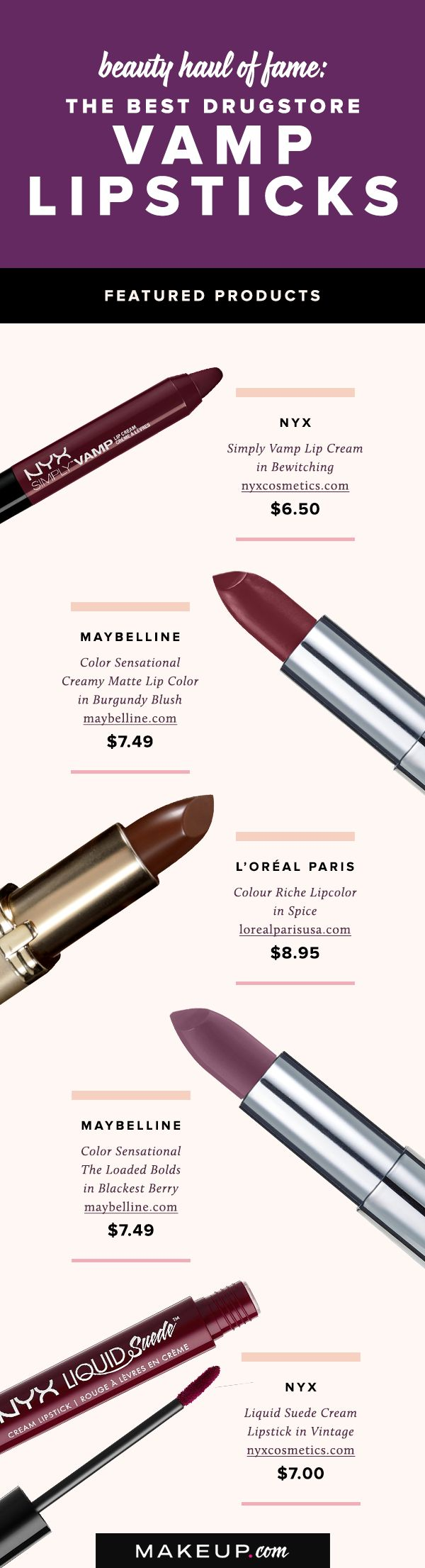 With the summer winding down, deep, dak lipstick looks are heating up! We've found the best affordable drugstore lipsticks available at your local drugstore, so see our top picks now.