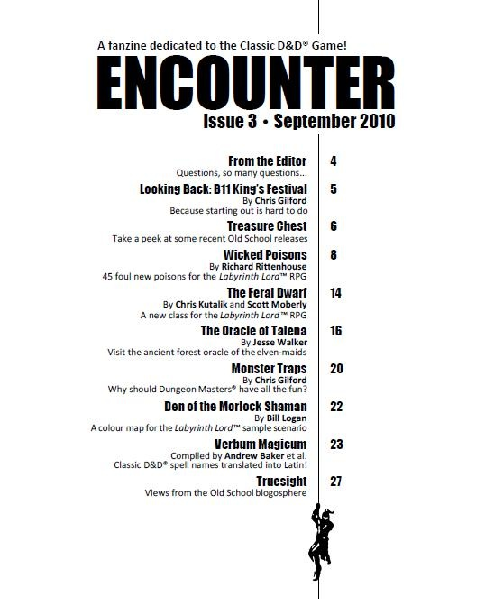 encounter+issue+3+table+of+contents+h This particular table of contents is so very playful even though it has a simple color palette. The little man hanging from the bottom is a very cute touch. The bold type for the headlines is nicely placed with the smaller type for other articles. Its a nice use of typography and has a good layout.