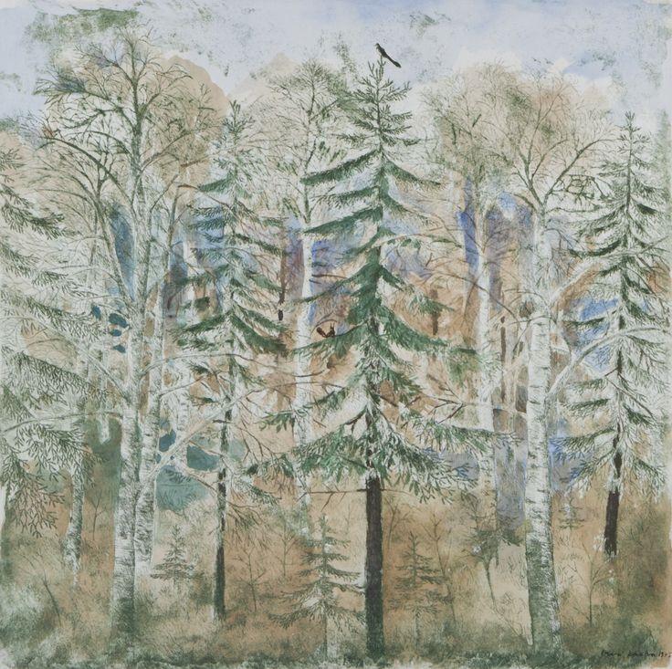 Inari Krohn: Metsä, 1975, vesiväri, 50x50 cm - Hagelstam A136