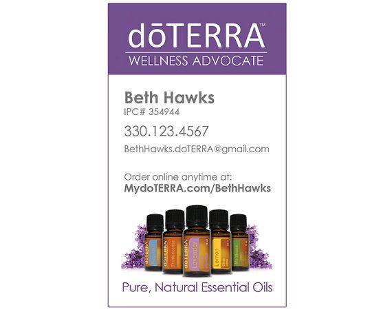 This business card is a design I was selling on Etsy. Unfortunately, I am no longer able to offer it for sale through my shop due to doTERRA's acceptable use policy. If you are interested in the design file, please email me at bethhawks.doterra@gmail.com.