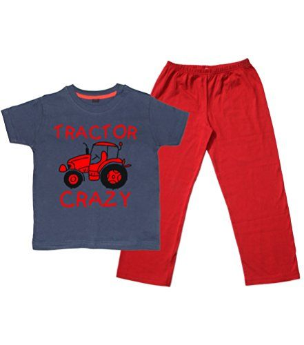 Children's Navy T-Shirt & Red Long Pants Pyjama Set 'TRACTOR CRAZY (DESIGN 2)' with Red & Black Print.