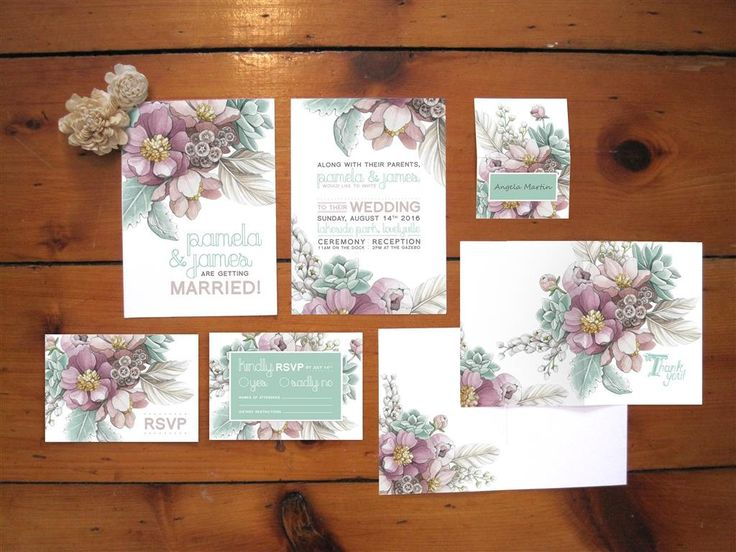 Mauve Peony Mint Succulent Botanical Wedding Invitations