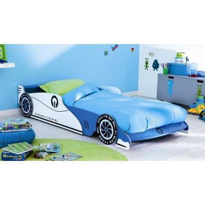 Das Kinderbett wird in den Design eines Sportwagens bringt eine wahre Freude in das Schlafzimmer kleiner Rennfahrer. In der Farbe blau/weiß bietet es einen verstellbaren Liegeplatz in der Größe 190/200. #Betten #Kinderbett #Themenbett #Autobett
