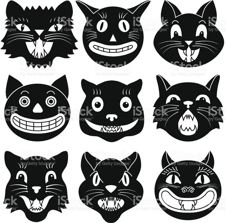 black and white images of halloween cat heads royalty free stock vector art - Halloween Black And White