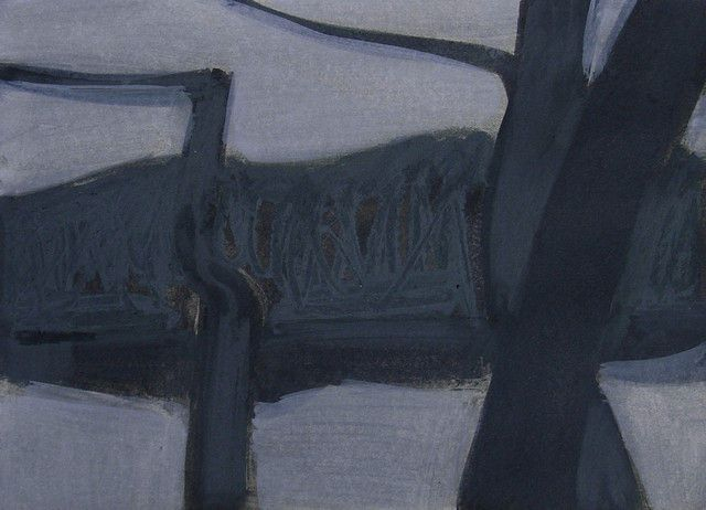 Susannah Phillips, Moonlit Pond (2008), Gouache and Conte on paper, 11 × 15 in