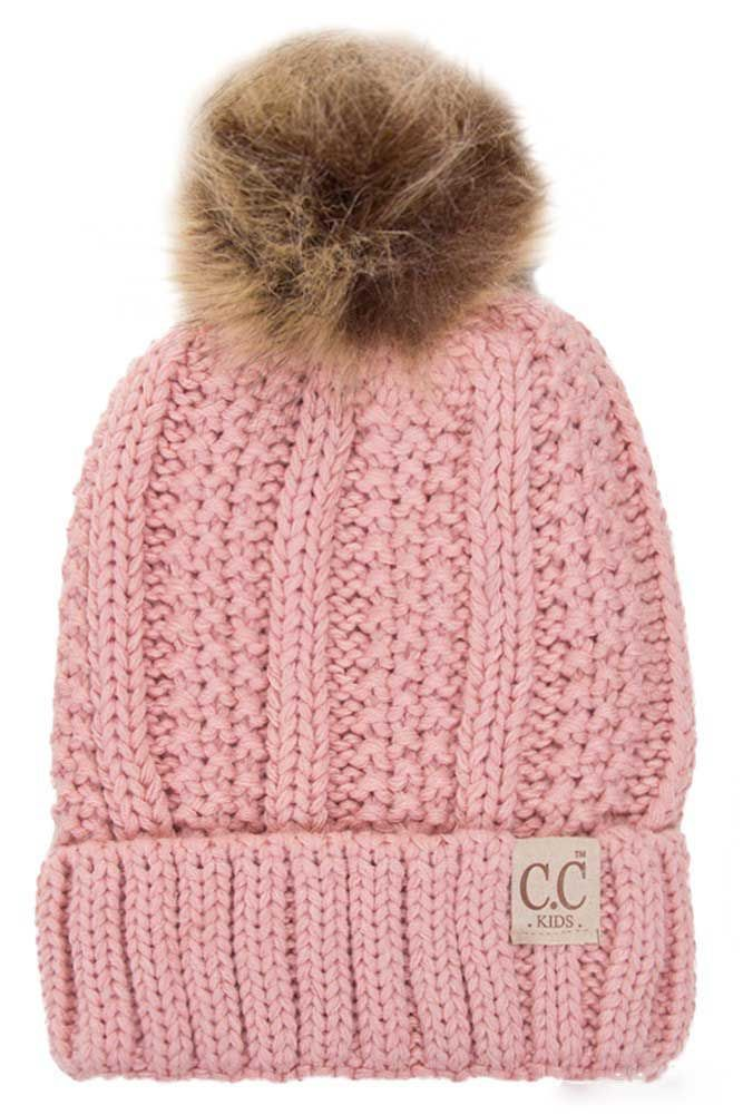 c5c13b4bb81 CC Beanie Fleece Lined Cable Knit Beanie with Pompom for Kids in Indie Pink  KIDS-820-INDIEPINK