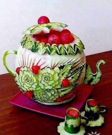 teapot carved from watermelon