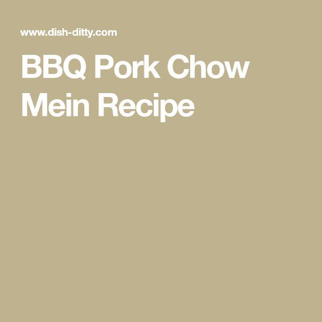 BBQ Pork Chow Mein Recipe