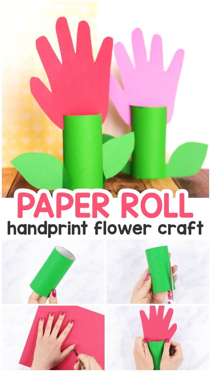 Paper Roll Handprint Flowers Mother S Day Craft Idea Hand