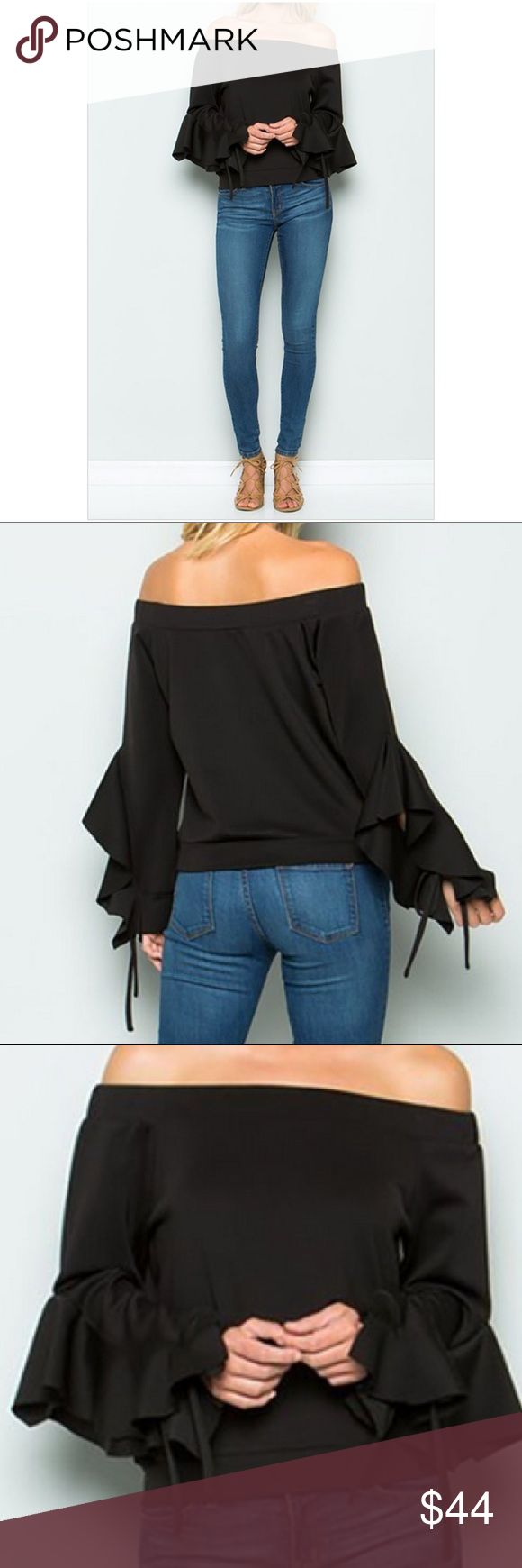 Off Shoulder Tie Up Sleeve Top Beautiful black off shoulder tie up sleeve top. 95% polyester 5% spandex. 2 colors: black and nude. I ship 3-5 business days. Price is firm. Tops Tees - Long Sleeve