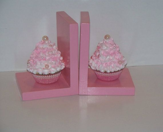 Fake Cupcake Bookends, Pastel Pink and White with Faux Pearls, Perfect for Shabby Cottage Christmas Gifts, Girls Room Decor via Etsy