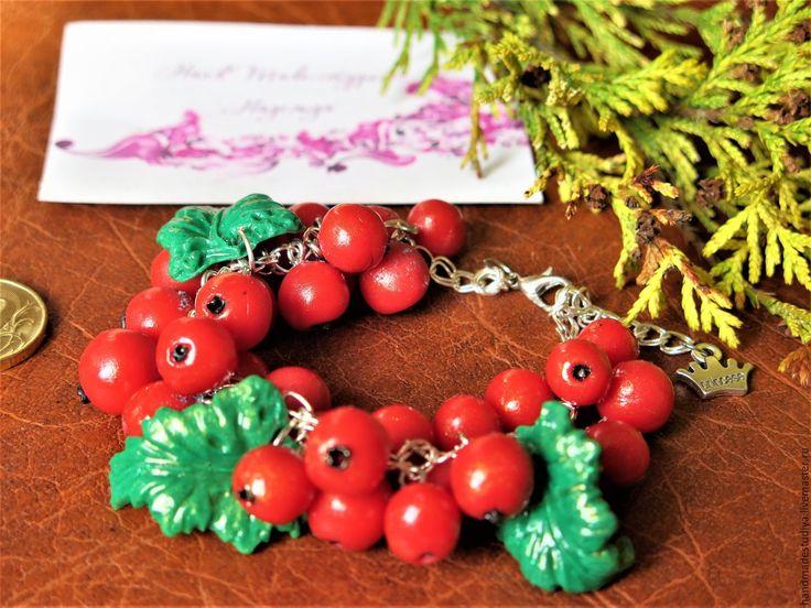 Купить Браслет Красная смородина - ярко-красный, браслет, браслет на руку, Браслет ручной работы