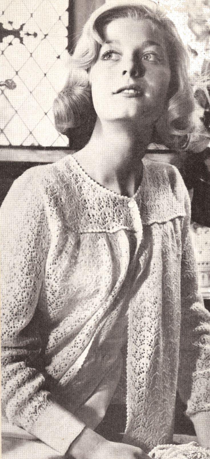 Vintage Bed Jacket Knitting Pattern : 27 best images about Vintage knitting patterns - bed jackets. on Pinterest