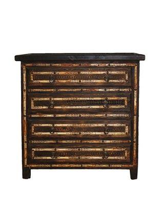 Badia Design Bone Inlay 4-Drawer Dresser, Brown/Orange