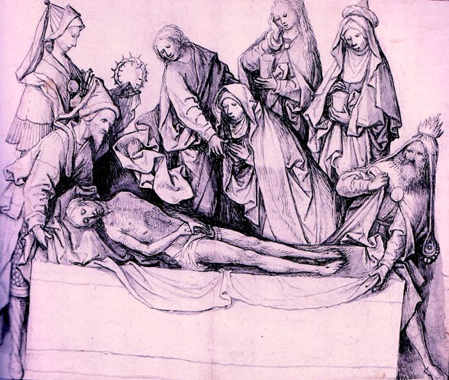 El Bosco. El Entierro de Cristo . Tinta gris y gris a pincel , aguada de tinta gris sobre lapiza. 1505-15. British Museum. Londres. Podría ser un estudio previo a un retablo **