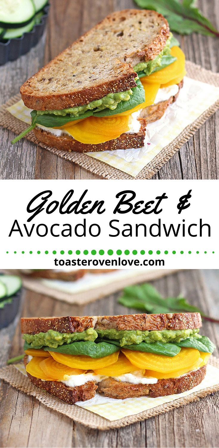 Golden Beet & Avocado Sandwich.  A veggie filled sandwich of whole grain toasted bread topped with sweet roasted golden beets, creamy avocado, luscious orange flavored ricotta and fresh baby spinach. Enjoy one for lunch today!
