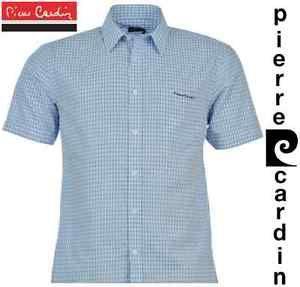 a camisa autentico hombre pierre cardin azul celeste blanco cuadros de manga corta