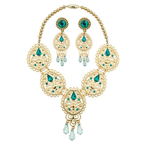 Jasmine's Jewelry: Golden Wishes - She can explore a whole new world of dress up with this dazzling three-piece jewelry set befitting a Sultan's daughter. The golden necklace is complemented with matching earrings, perfectly accessorizing her Jasmine costume.